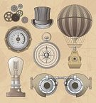Steampunk,Hot Air Balloon,Victorian Style,Flying Goggles,Blimp,Industrial Revolution,Retro Revival,Map,Old-fashioned,Compass,Drawing - Art Product,Top Hat,Equipment,Gear,Pressure Gauge,Dial,Light Bulb,Machinery,Grunge,Invention,Engraved Image,Navigational Equipment,Textured Effect,Gauge,Mode of Transport,History,Vector,Oil Pressure Gauge,Ilustration,Engine,Set,Hat,Design Element,Clockworks,Machine Part,Transportation,Inventor,Ornate,Design,Art