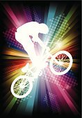 BMX Cycling,Riding,Cyclist,Silhouette,Sport,Teenager,Little Boys,Stunt,Excitement,Air,Funky,Male,Youth Culture,Teenagers Only,Vector,Men,Ilustration,Male Animal,Fun,Free Ride,D.J. White,Rainbow,Cycling,Bicycle,Arrow Symbol,Halftone Pattern,Extreme Sports