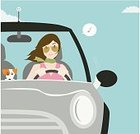 Car,Driving,Women,Little Girls,Dog,Traffic,Mini Cooper,Jack Russell Terrier,Cheerful,Road Trip,Happiness,Travel,Vector,Ilustration,Puppy,Vacations,People Traveling,Sunglasses,Business Travel,Animal,Terrier,Smiling,Aviator Glasses,One Animal,Color Image,Musical Note,Copy Space,Friendship,Square,One Woman Only,No Traffic