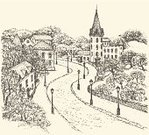 Town,Old-fashioned,Sketch,Silhouette,Nature,Castle,Cobblestone,Backgrounds,Engraving,Street,Drawing - Art Product,Springtime,Outline,Pencil Drawing,Obsolete,City,European Culture,Park - Man Made Space,Asphalt,Ink,Alley,Tree,Ancient,Vector,Lantern,Computer Graphic,Cathedral,Building Exterior,House,Gothic Style,Church,Electric Lamp,Drawing - Activity,Road,Contour Drawing,Town Square,Sidewalk,Ilustration,Formal Garden,Old,Europe,Outdoors,The Past,Antique,History,City Life,Cityscape,Winter,Residential Structure,Home Interior,Architecture,Autumn,Built Structure,Urban Scene