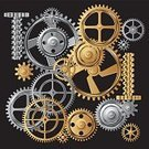 Watch,Gear,Machine Part,Metal,Machinery,Engine,Black Background,Gold Colored,No People,Vector,Ilustration,Iron - Metal,Gold