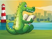 River,Riverside,Fang,Animal Teeth,Animal Spine,Carnivore,Riverbank,Pond,Sitting,Storytelling,Land,Striped,Clear Sky,Deep,Animal Scale,Sea,Blue,Lake,Tower,Lighthouse,Rear View,Green Color,Image,Computer Graphic,Lifestyles,Reading,Animal,Alligator,Crocodile,establishments
