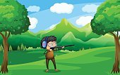 Protective Eyewear,Weapon,Gun,Wealth,Surrounding,Sky,Forest,Day,Target Shooting,Shooting at Goal,White,Bush,Blue,Tree,Mountain,Shooting,Hobbies,Relaxation,Cloud - Sky,Green Color,Computer Graphic,Cartoon,Little Boys,Image,Nature,Tropical Rainforest,Outdoors,Gift,Male,Men,Hill,Grass,Landscape,Plant,Adult,People,One Person,Woodland