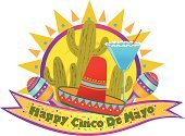 Cinco De Mayo,Cactus,Vector,Cheerful,Mexican Culture,Carnival,Celebration,Banner,Traditional Festival,Margarita Glass,Holiday,Sun,Ornate,Multi Colored,Margarita,Sombrero,Maraca