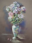 Paintings,Impressionism,Flower,Painted Image,Single Flower,Drawing - Art Product,Vase,Pencil,Color Image,Photograph,New,Pastel Drawing,Pastel Colored,Art,Ilustration,Plant,Vertical,Nature,Flowers,Art Product,Ceramics,Craft,Creativity,Paper
