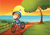 Little Boys,Computer Graphic,Image,Clear Sky,One Person,Teenager,People,Male,Riverbank,Teenagers Only,Men,Bush,Tower,Sunset,Sky,Lighthouse,Fence,Plant,Blue,Grass,Single Word,River,Outdoors,Cyclist,Lake,Riverside,Deep,Drinking Water,Biker,Bicycle,Green Color,Sun,Wood - Material,Weed,Cycling,Tree,Orange Color