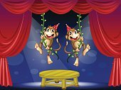 Monkey,Circus,Ape,Curtain,Green Color,Wood - Material,Plant,Circle,Vine,Spotlight,Acting,Hat,Photograph,Midsection,Red,Table,Performance,limelight,Swinging,Young Animal,Gorilla,Blue,Image,Catwalk - Stage,Mammal,Animal,Computer Graphic,centerstage
