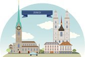 Zurich,Large,Cathedral,History,Building Exterior,Urban Skyline,Life,Travel,Church,Switzerland,Cartoon,Famous Place,Urban Scene,Transportation,City,City Life,Green Color,Set,Vector,Ilustration,Tower,Residential District,Horizontal,Silhouette,Country - Geographic Area,Symbol,Town,Tree,Car,Architecture,House,Cityscape,Plant