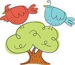 A Bird in the Hand is worth Two in the Bush,Vector,Ilustration,Doodle,Cute,Cartoon,Happiness,Bird,Cardinal,Bluebird,Animal,Cheerful