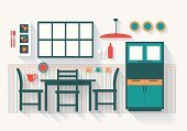 Home Interior,Cross Section,Slice,Wall,Dining Room,Modern,Cabinet,Indoors,Clip Art,Art,dinnerset,Dresser,Architecture,Colors,Window,Lighting Equipment,Part Of,Vector,Close-up,Ilustration,Dining,Table,Chair,long shadows,Design,Furniture,Wallpaper,Domestic Room,Inside Of,Horizontal