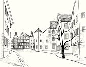 Urban Scene,Drawing - Activity,France,Street,Non-Urban Scene,Alley,Pedestrian,Vector,Computer Graphic,Cityscape,Spain,Pencil Drawing,Line Art,Comfortable,Downtown District,Roof,Germany,Montenegro,Slovenia,Roof Tile,Croatia,Europe,Ilustration,Backdrop,Architecture,Postcard,History