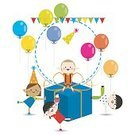 Balloon,Child,Little Boys,Cake,Childhood,Birthday,Celebration,Hat,Preschooler,Surprise,Party - Social Event,Kid Goat,Cute,Multi Colored,Fun,Preschool,Holiday,People,Smiling,Vector,Cheerful,Happiness,Humor,Gift,Little Girls,Group Of People,Decoration