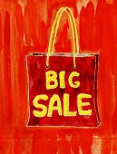 Multi Colored,Retail,Ilustration,Orange Color,Grunge,Art,Bright,Painted Image,Paintings,Design Element,Poster,Text,Vibrant Color,Watercolor Painting,Stained,Shopping Bag,Red,Sale,Paper