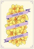 Thank You,Cherry Blossom,Vector,Yellow,Color Image,Ilustration,template,Flower,Greeting Card,Text