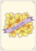 Thank You,Vector,Ilustration,Yellow,Color Image,template,Flower,Cherry Blossom,Greeting Card,Text