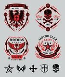 Motorcycle,Human Skull,Motorcycle Racing,Piston,Eagle - Bird,Coat Of Arms,Sign,Cross Shape,Cross,Skull and Crossbones,Star Shape,Flame,Placard,Engine,Shield,Vector,Lightning,Tee,Symbol,Pattern,Patch,Art,Banner,Insignia,Wing,Set,Design,Gothic Style,Shirt
