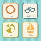 Sea,Icon Set,Symbol,Design,Tropical Climate,Group of Objects,Set,Relaxation,Ilustration,Vector,Sun,Beach,Summer,Nautical Vessel,Ball,Vacations,Sunglasses,Multi Colored