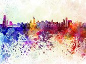 Chicago,Urban Skyline,Watercolor Painting,Cityscape,Painted Image,Abstract,Famous Place,Illinois,Grunge,Multi Colored,Panoramic,North America,Backgrounds,USA,Creativity,Monument,Color Image,Architecture,Splattered,Vibrant Color,Ilustration,Textured Effect,Spray