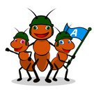 Ant,Animal,Insect,Cartoon,Military,Armed Forces,Computer Graphic,Smiling,Ilustration,Hymenopteran Insect,Vector,Family,Vertical,Brown,Flag,Animal Antenna,Isolated On White,Illustrations And Vector Art