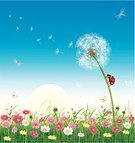 Backgrounds,Land,Sky,Field,Vector,Summer,Season,Ladybug,Sun,Environmental Conservation,Sunrise - Dawn,Vegetable Garden,Springtime,Art,Flower,Meadow,Blue,Daisy,Landscape,Environment,Nature,Blossom,Leaf,Horizon,Bird,Agriculture,Insect,Space,Red,Grass,Dandelion,Freshness,Dragonfly,Wallpaper,Painting,Butterfly - Insect,Beauty In Nature,Bush,Yellow,Ilustration