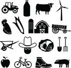 Barn,Bicycle,Cow,Chicken - Bird,Black Color,Silhouette,Milk Bottle,Computer Icon,Milk,Boot,Pitchfork,Cabbage,Tractor,Cowboy,Farm,Rooster,Farmer,Apple - Fruit,Pig,Shovel,Wheelbarrow,Carriage,Generator,Electricity,Corn,Wind