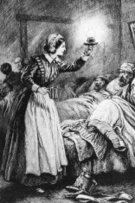 Florence Nightingale,Nurse,Electric Lamp,Hospital,19th Century Style,Image Created 19th Century,Male,Black And White,British Culture,Lighting Equipment,Group Of People,Clothing,Female,People,Time,Visual Art,Arts And Entertainment,Vertical,Assistance,Individuality,Care,Concepts And Ideas