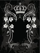 Crown,Grape,Label,Vine,Frame,Retro Revival,Old-fashioned,Vector,Black And White,Outline,Art,Floral Pattern,Design,Decoration,Black Background,No People,Ilustration,Two-dimensional Shape,Vertical,Classical Style,Elegance,Concepts,Ideas,Food And Drink,Creativity,Illustrations And Vector Art,Arts And Entertainment,Alcohol,Arts Abstract