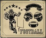 Retro Revival,American Football - Sport,Football,Football Player,Ilustration,Visual Aid,Vector,Team Sport,Competitive Sport,Sport,Old,Weathered,Grunge,Professional Sport,All Star,Playing,Group of Objects,Goal Post,Athlete,Banner,Multiple Image,Ball,Sports Equipment,Collection,Set,Text,Typescript,Arrangement