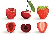 Strawberry,Raspberry,Cross Section,berrys,Cherry,Fruit,Ilustration,Berry Fruit,Drawing - Art Product,Isolated,Organic,Vector,Plant,Food,Design,Angle,Ingredient,Season,Red,Nature,Freshness,Group of Objects,Profile View,Leaf,Paintings,Sweet Food,Ripe,Summer