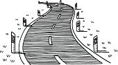 Winding Road,Country Road,Drawing - Art Product,Road,Traffic,Tranquil Scene,Vector,Sketch,Design Element,black-and-white,hand drawn,Clip Art,Black And White,Day,Black Color,Reflector Post,Empty,Road Marking,White,Travel,Curve,Simplicity,Horizontal,Line Art,Pen And Marker,Guide Post,Delineator,Blank,Vanishing Point,Dividing Line,Rural Scene,Transportation,Outdoors,No People,Transparent,Single Object,Ilustration,Isolated On White,Doodle,Landscape