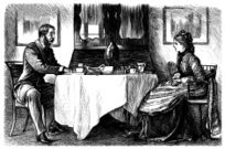 The Past,Couple,Table,Women,Engraved Image,Engraving,Victorian Style,Men,Dining Room,Activity,Tablecloth,Traditional Clothing,Domestic Room,Print,Cultures,Alcohol,Old,Emotion,Drawing - Art Product,Discussion,Tea Cup,Antique,Food,Bonding,Togetherness,19th Century Style,Indoors,Talking,Drink,Black And White,Serious,Chair,1870-1879,Afternoon Tea,Communication,Meal,History,Ilustration,Shawl,European Culture,Old-fashioned,English Culture,Period Costume,Toast Rack,British Culture,Line Art,Teapot,Furniture,Image Created 1870-1879,Image Created 19th Century,Jug,Mustache,Monochrome,Social History