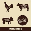 Chicken,Cow,Symbol,Pork,Pig,Beef,Silhouette,Icon Set,Vector,White,Ilustration,Design,Food,Black Color,Animal Themes,Farm,Animal,Duck,Meat,Sign