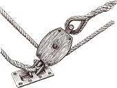 Fishing Tackle,Strength,Reliability,Rigging,Block,Rope,Equipment,Sailing Ship,Single Object,Sketch,Isolated On White,Ilustration,Drawing - Art Product,Industrial Ship,Industry,Ship,Twisted