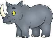 Rhinoceros,Looking,Single Object,Smiling,Vector,Standing,Horned,Cheerful,Cartoon,Large,Child,Cute,Happiness,Gray,Animal