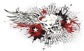 Tattoo,Human Skull,Star - Space,Artificial Wing,Wing,Dirty,Star Shape,Riding,Symbol,Rock and Roll,Riding,Violence,Paint,Death,Flying,Holidays And Celebrations,Concepts And Ideas,Illustrations And Vector Art