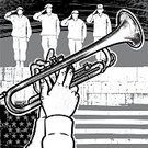 Armed Forces,Flag,US Memorial Day,Vector,Patriotism,2011,Ilustration,Black And White,Toned Image,May,Musical Instrument,One Person With Others,People,Saluting,Military Attire,Bugle,American Flag,Part Of