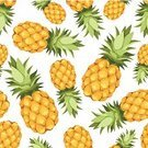 Pineapple,Tropical Fruit,Pattern,Fruit,Mature Adult,Isolated,Healthy Eating,Wallpaper Pattern,Vegetarian Food,Continuity,Yellow,Food,Freshness,Sour Taste,Backdrop,Backgrounds,Plant,Repetition,Sweet Food,Orange Color,Textured,Summer,Ripe,Ilustration,Leaf,Nature,Exoticism,Food And Drink,haulm,Green Color,Seamless,Raw Food,Refreshment,White Background,Vector,Organic