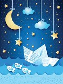 Fairy,Fantasy,Paper Boat,Sky,Sailboat,Sea,Nautical Vessel,Night,Journey,Retro Revival,Travel,Cruise,Landscape,Ilustration,Old,Blue,Computer Graphic,Tourism,Moon,Paper,Transportation,Design,Cartoon,Vector,Wave,Shadow,Vacations,Seascape,Backgrounds,Water,Ship,Star Shape
