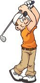 Golf,Cartoon,Golfer,Men,White,Characters,Sport,Ilustration,Playing,Isolated,Color Gradient,Vector