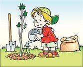 Child,Working,Plant,Occupation,Tree,Little Boys,Shovel,Offspring,Water,Ilustration,Nature,Trowel,Vector,New Life,Protein,People,Actions,Illustrations And Vector Art,Ladle