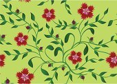 Flower,Vector,Seamless,Green Color,Plant,Leaf,Pattern,Image,Floral Pattern,Red,Backgrounds,Decoration,Ilustration,Ornate