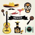 Sombrero,Mexico,Mexican Culture,Vector,Tequila - Drink,Ilustration,Food,Computer Icon,Computer Graphic,Cactus,Symbol,Latin American and Hispanic Ethnicity,Carnival,Guitar,Spanish Culture,Human Skull,Set,Pepper