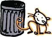 Domestic Cat,Garbage,Garbage Can,Gray,Cats,Animals And Pets,Looking,Orange Color,Black Color