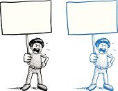 Humor,Cartoon,Holding,Sign,Furious,Displeased,Protest,White,White Background,Sound,Black And White,Drawing - Art Product,Empty,Sketch,Anger,Looking At Camera,Isolated,Riot,Pencil Drawing,Blue,Doodle,Monochrome,Banner,Placard,Screaming,Front View,Shouting,Poster,People,Complaining,Men