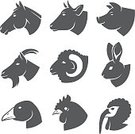 Animal Head,Cow,Computer Icon,Ram - Animal,Symbol,Pig,Cattle,Profile View,Sheep,Chicken - Bird,Silhouette,Domestic Animals,Horse,Goat,Rabbit - Animal,Agriculture,Animal,Bird,Turkey,Farm,Ilustration,Hen,Vector,Isolated,Goose,Black Color,Set,Sign,Computer Graphic