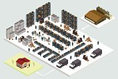 Warehouse,Isometric,Pick-up Truck,Shipping,Truck,Distribution Warehouse,Organization,Stick Figure,People