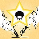 Saxophone,Mustache,Music,Human Hair,Trumpet,Vector,Eyeglasses,Computer Graphic,Star Shape,Musical Note,Men,Performance,1940-1980 Retro-Styled Imagery,Joy