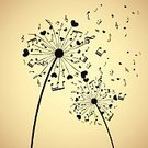 Music,Musical Note,Flower,Dandelion,Heart Shape,Valentine's Day - Holiday,Love,Art,Backgrounds,Treble Clef,Painted Image,Vector,Elegance,Symbol,Nature,Entertainment,Abstract,Ilustration,Greeting,Sheet,Design,Plant,Treble,Blossom,Design Element,Seed,Shape,Curve,Pattern,No People,Paintings,Black Color,Stem