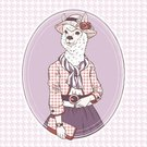 Alpaca,Ilustration,Old-fashioned,Retro Revival,Women,Human Face,Pattern,Elegance,Dress,Humor,Glamour,Design,Fashion,Style,Pets,Hipster,Computer Graphic,Poster,Purse,Clothing,Animal Head,Vector,Plaid,Beauty,Cards,Cartoon,Beautiful,Painted Image,Fun,Animal,Cool,Creativity,1940-1980 Retro-Styled Imagery,Print,Postcard,Fashionable,hand drawing,Cute,Anthropomorphic,Hip Hugger