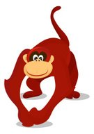 Monkey,Animal,Cartoon,Chinese Zodiac Sign,Primate,Cute,Characters,Friendship,Ilustration,Isolated,Fur,Cheerful,Smiling,Wildlife,Animal Themes,Illustrations And Vector Art,Mammals,Animals And Pets,Brown,Crouching,Nature,Mammal
